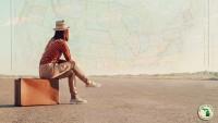 HAMRV Beautiful America RV Lifestyle girl traveler suitcase