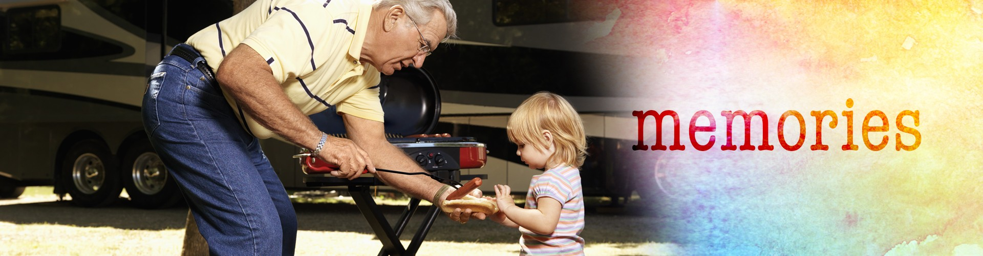 RV Beautiful America RV Lifestyle grandpa and child camping eating
