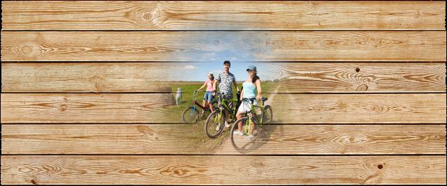 Family biking in field