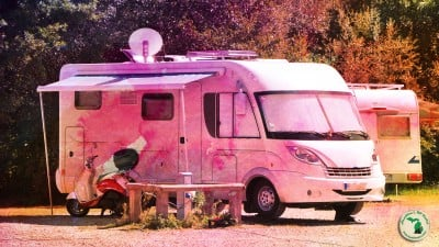 RV With Electric Awning With Tie Dye Overlay