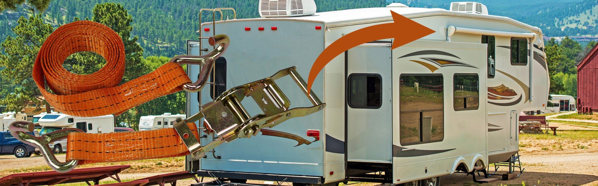 Ratchet straps over picture of RV with arrow pointing towards awning