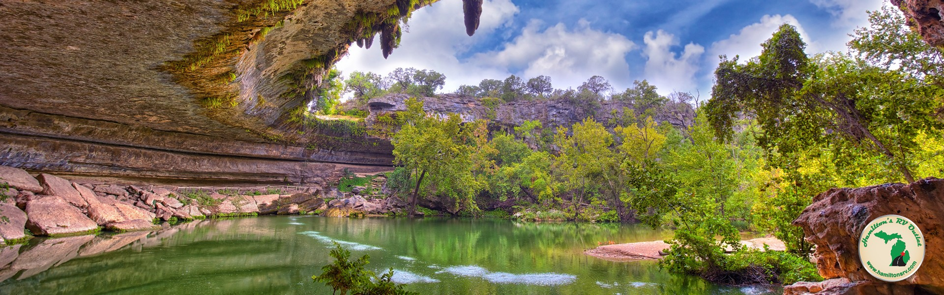 crystal clear waters at Hamilton's Pool in Texas spring view
