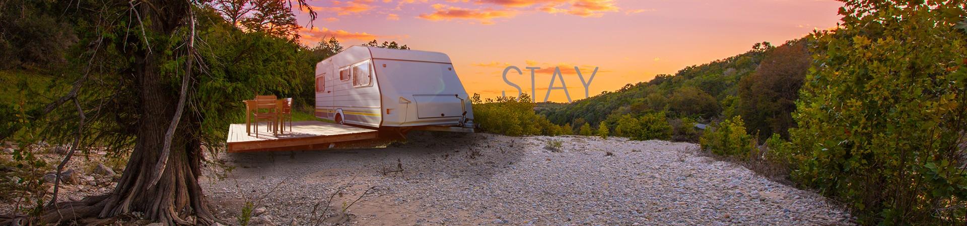 travel trailer RV set up at Hamiliton's Pool in Texas