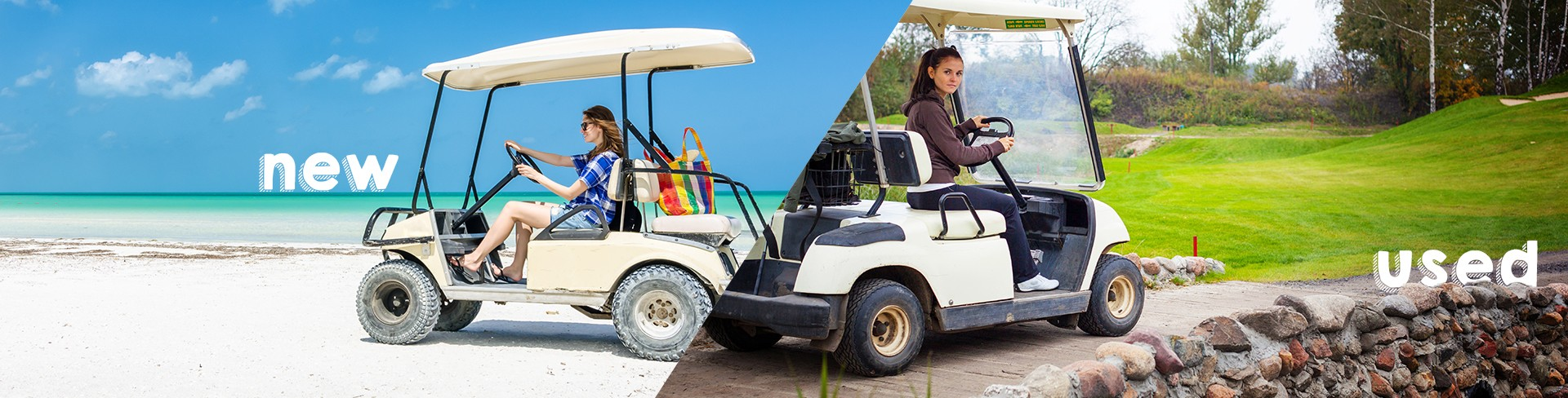 woman driving a new golf cart on the beach and woman driving used golf cart through country side