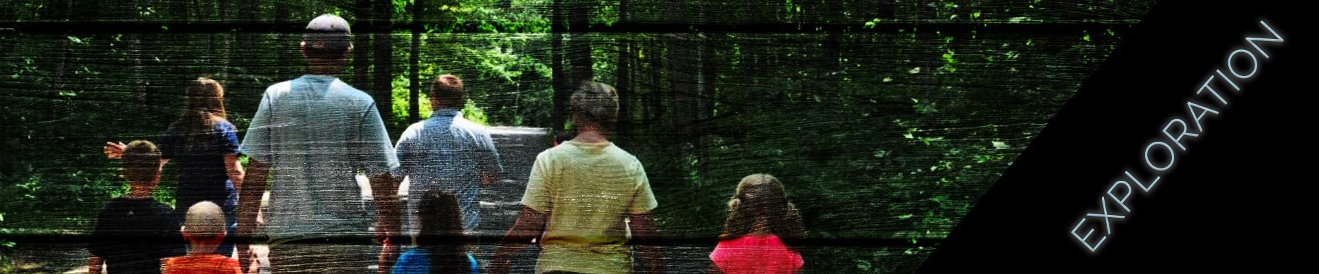 exploration - family walking hiking trail