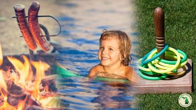 Hotdog roaster kid using pool noodles ring toss