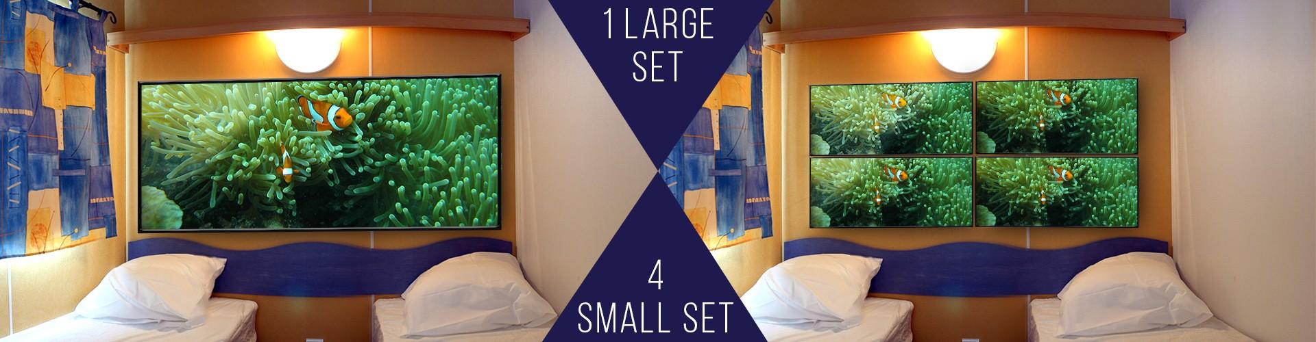 1 large set vs 4 smaller sets