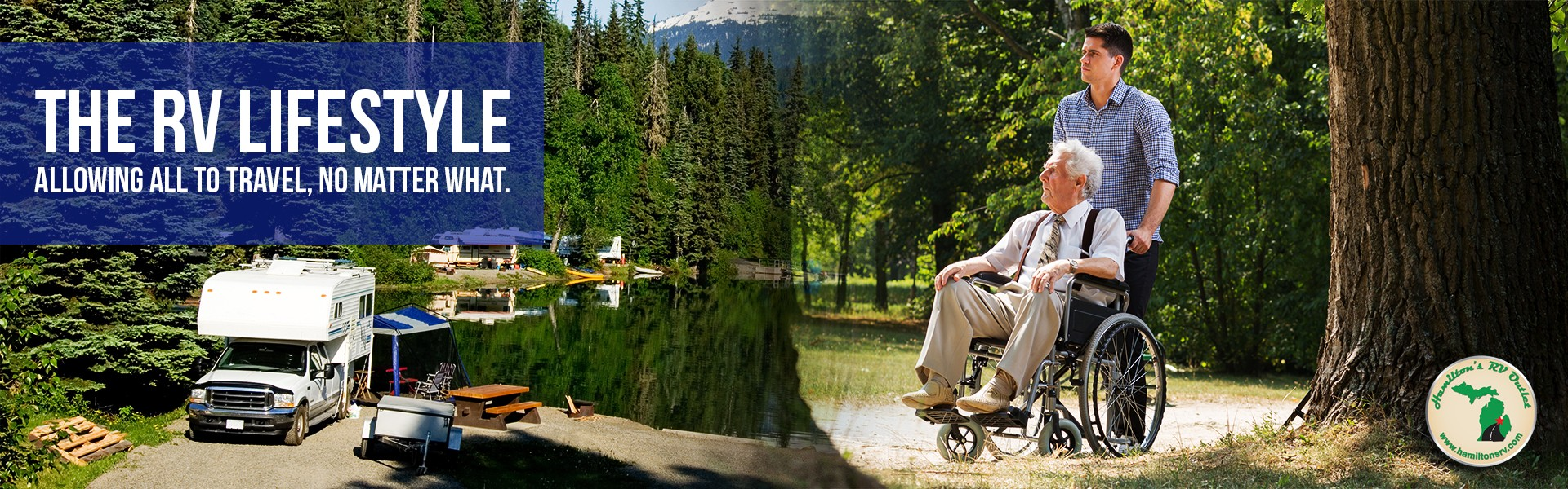 The RV lifestyle: Allowing all to travel, no matter what. Man in a wheelchair with his grandson.