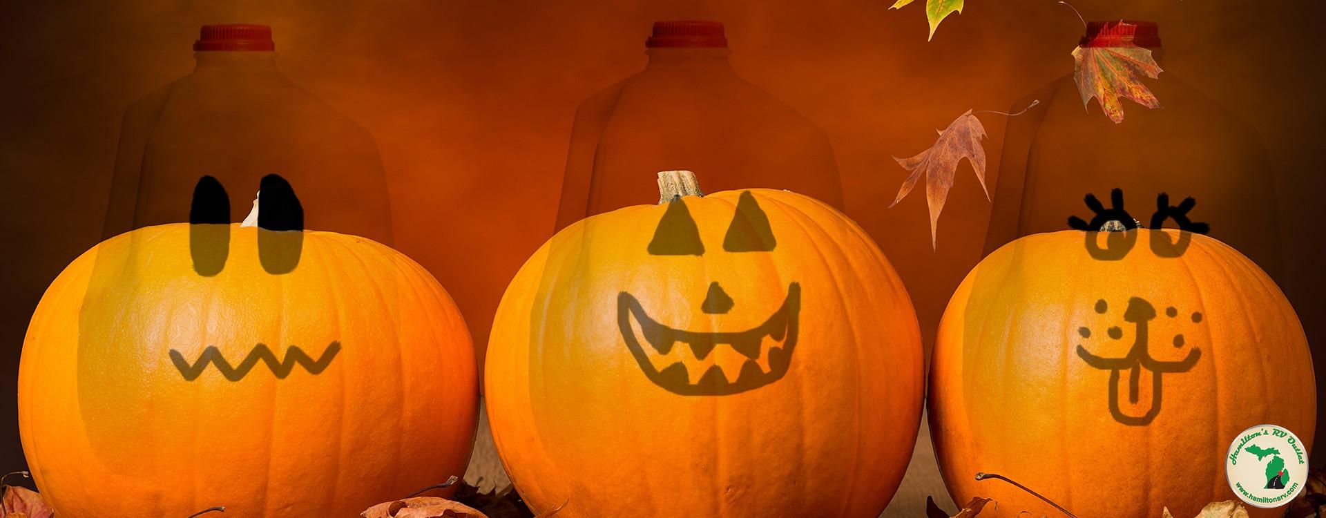 milk jugs and pumpkins