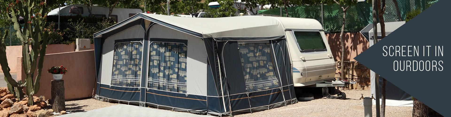 front rv shade shades screen and solera frontandsideshadebanner awning side