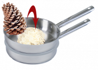 How to make pinecone fire starters: step 3 - submerge the pinecones in the melted wax.