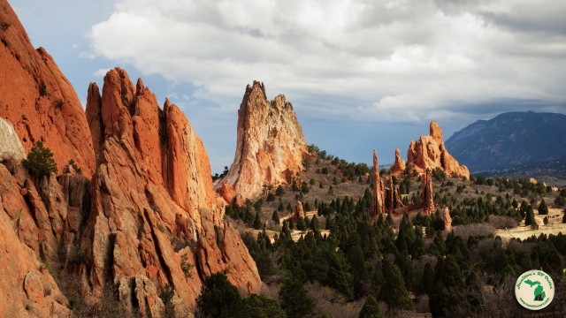 View of Garden of the Gods in Colorado.