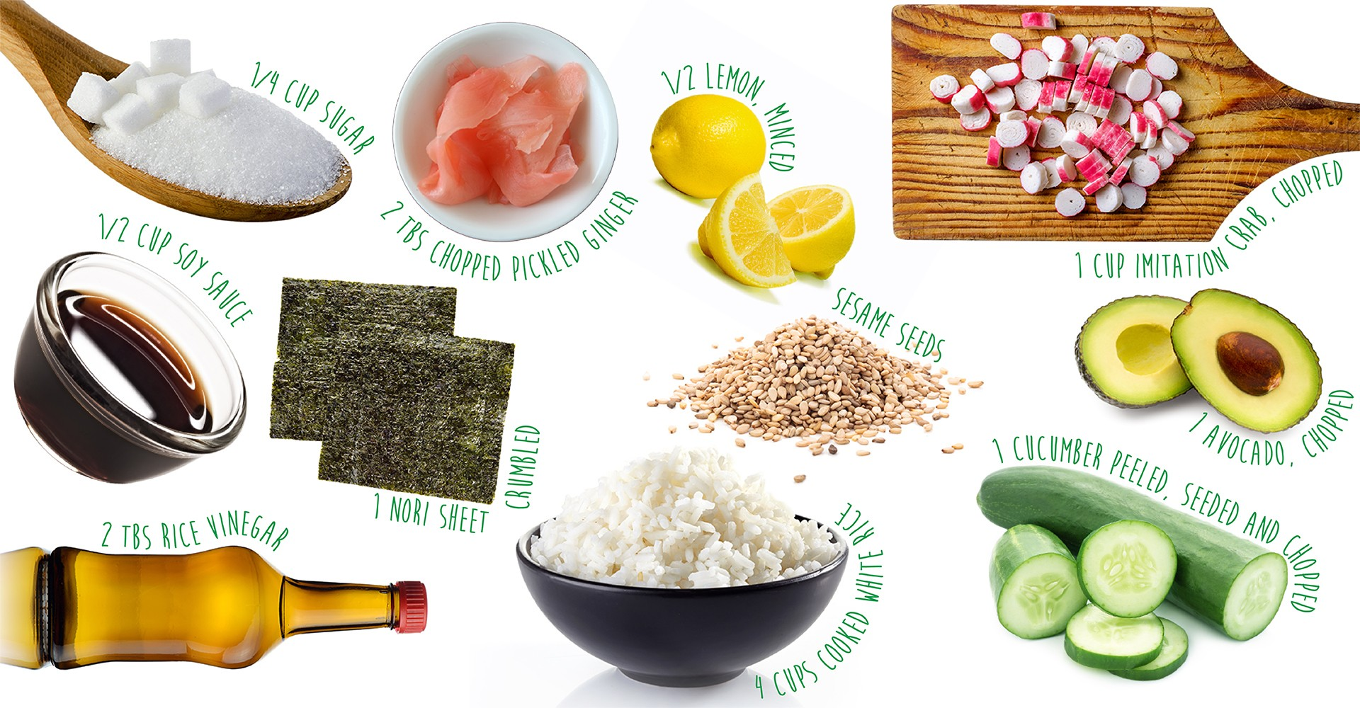 Ingredients to make your own California Roll Sushi Bowl!