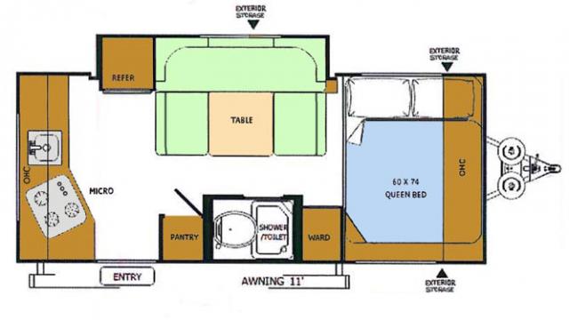2018 Rockwood Geo Pro 17RK Floor Plan
