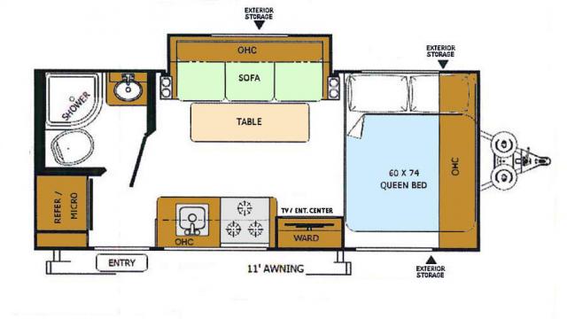 2018 Rockwood Geo Pro 19FBS Floor Plan
