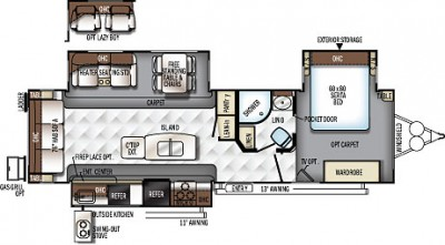 2018 Rockwood Signature Ultra Lite 8328BS Floor Plan