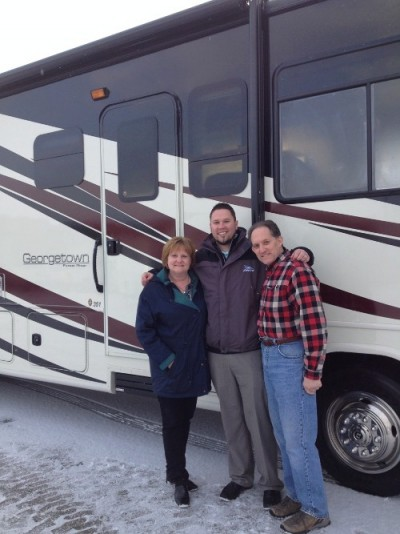 Patricia Blizinski at Motorhomes 2 Go with their Georgetown 377XLF
