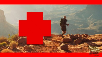 First Aid Man Hiking Through Mountains