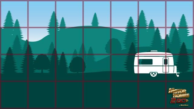Bingo game sheet over illustration of RV campsite