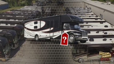 RV With Price Tag Overlaying RV Dealership