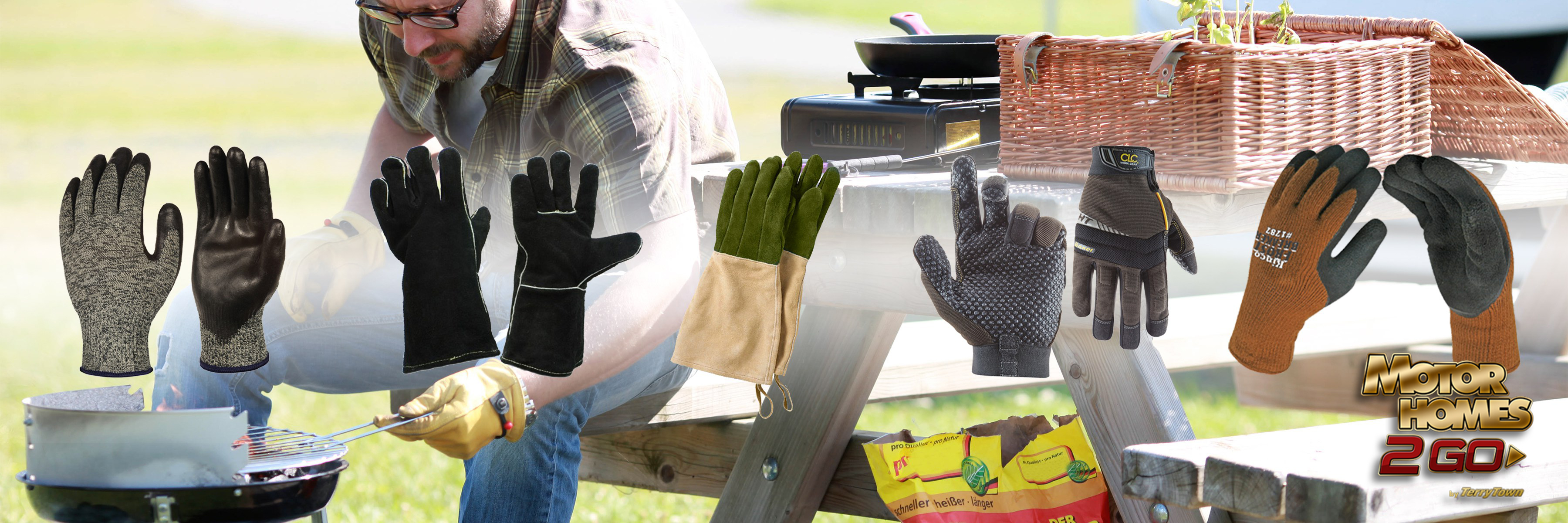 best camping gloves - man grilling banner