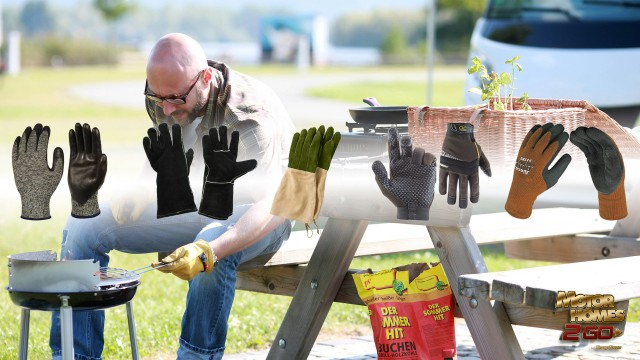 best camping gloves - man grilling feature