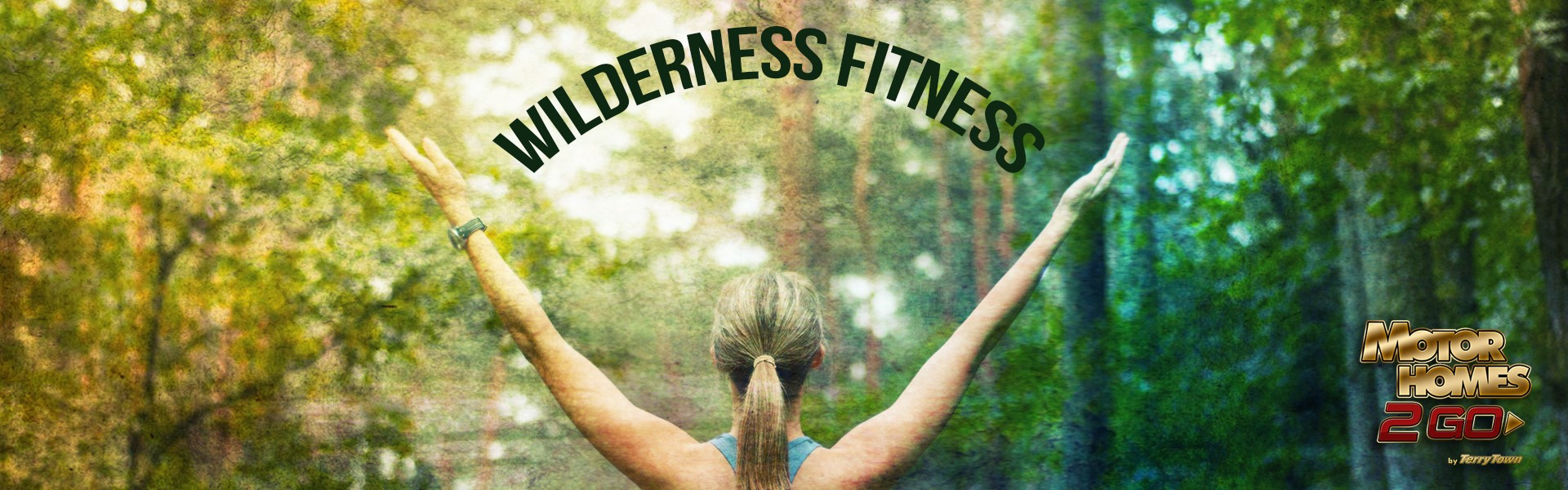 Wilderness fitness - Woman in workout clothes with arms raised in forest