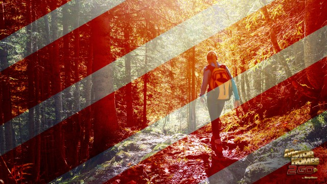 caution strips overlaying image of woman hiking alone