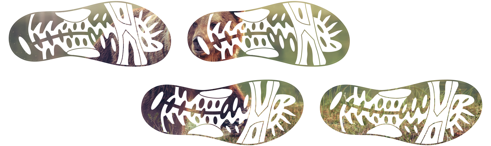 footprints with image of brown bear inside