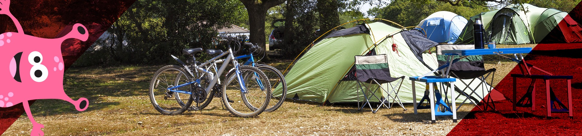 monster peering out corner - campsite with bikes and chairs