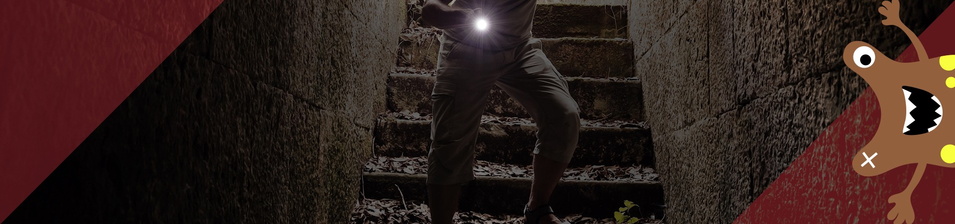 monster peering out corner - man going down stairs down tunnel in the dark with flashlight