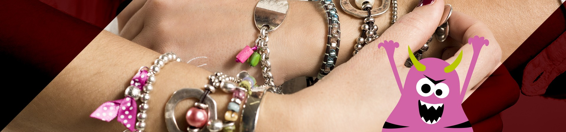 monster peering out corner - woman's jewelry