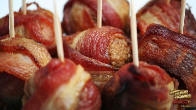 Large bacon wrapped meatballs