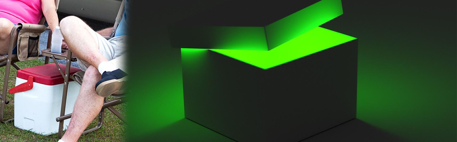 glowing green cooler