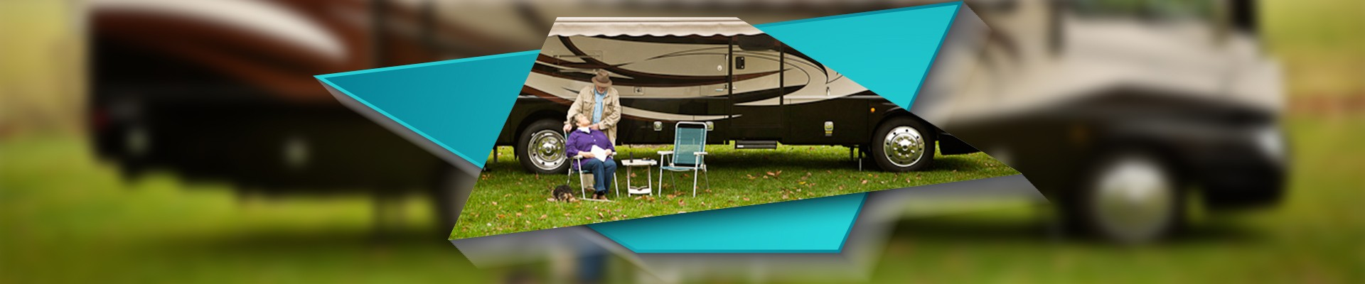 Couple sitting infront of Class A Motorhome.