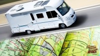 motorhome on the road with maps