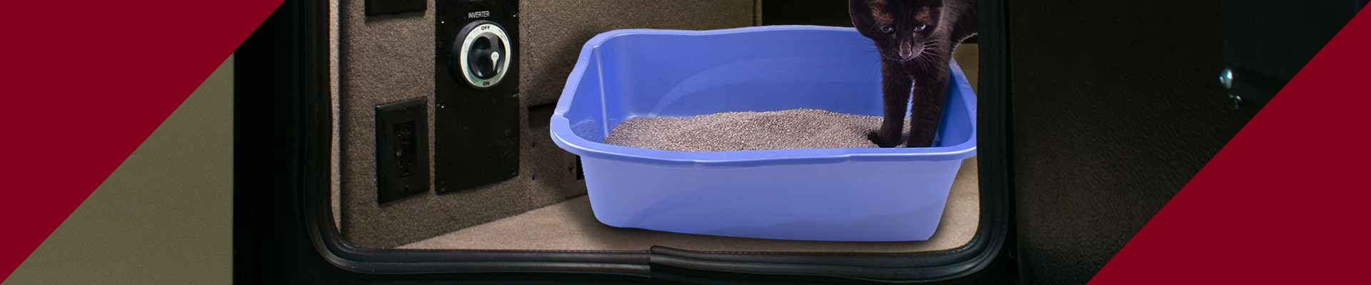 Make a tunnel to your RV basement to store cat litter area.