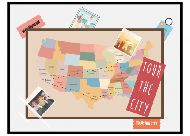 Display photos, maps and other various paper items from your last vacation in a picture collage to hang on the wall.
