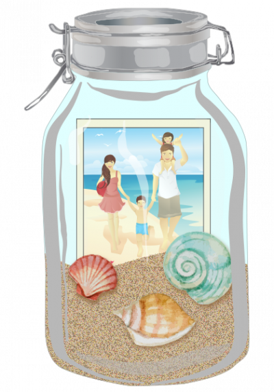 Show off your last beach vacation by collecting random items and displaying in a mason jar!