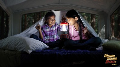 Two Girls Having A Sleepover In An RV