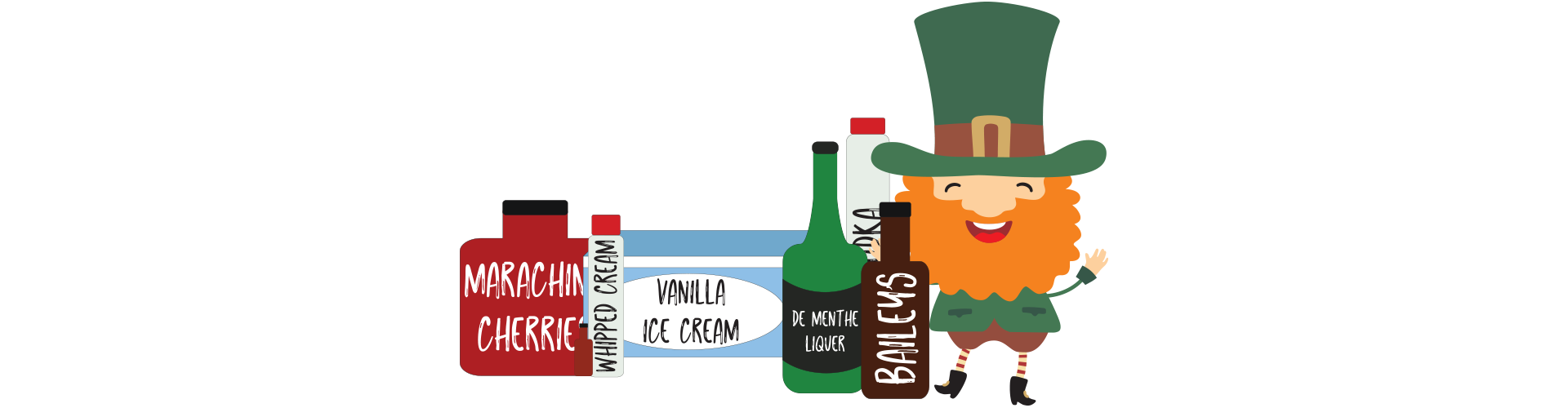 Mix the following ingredients together: 6 scoops of vanilla ice cream, 4 oz. creme de menthe liquer, 3 oz. vodka, 3 oz. Bailey's Irish Cream, 1 tsp. vanilla extract, whipped cream, Maraschino cherry (for garnish).