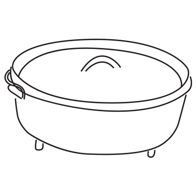 Cast-iron Dutch oven—perfect for campfire cooking