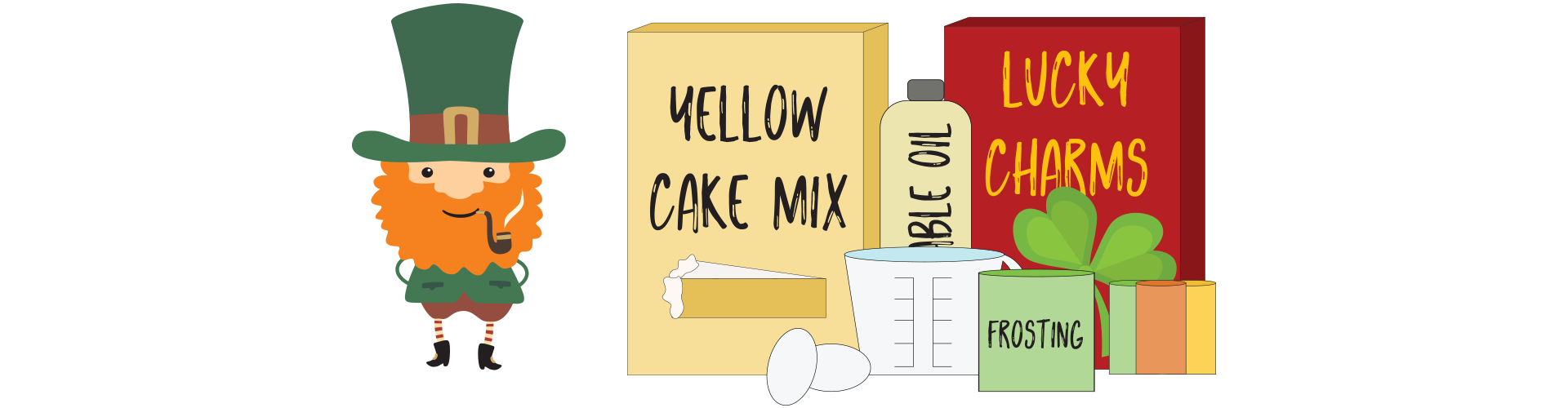 Gather together the following ingredients: Yellow cake mix, other additives listed on the cake mix box (typically water, oil, and eggs), 2 cups Lucky Charms™ marshmallows, rainbow-colored sprinkles, and 1 container of green frosting (or white with green food coloring added)