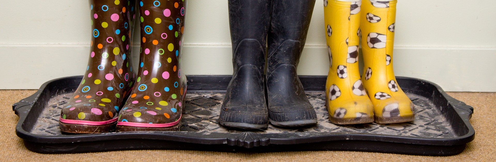 Boots on a rubber mat