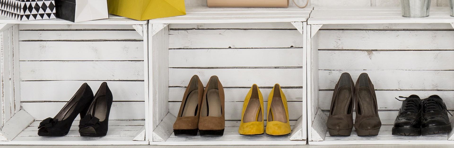 Shoes in cubbies