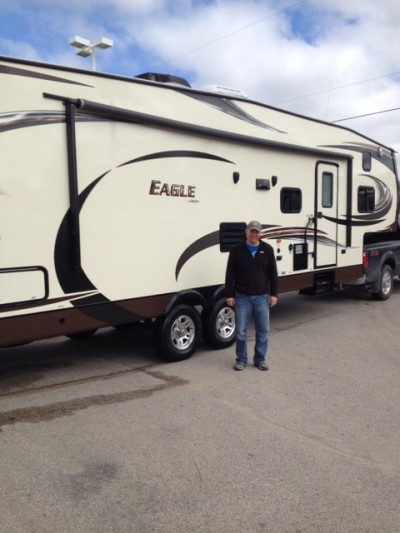 Matt Walker at All Seasons RV with their Eagle 336FKDS