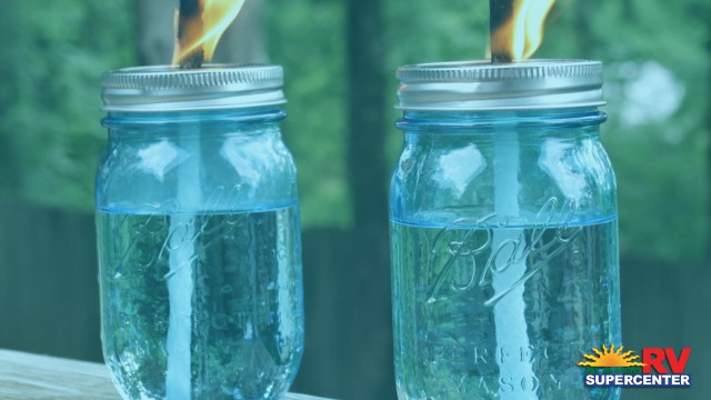 Fire Lit In Mason Jar Oil Lamps