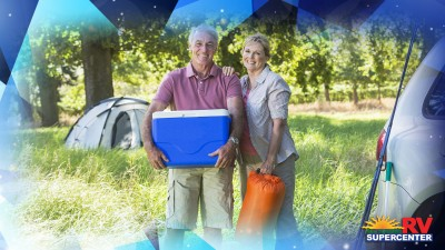 Geometric Pattern Happy Couple Holding Cooler And Camping