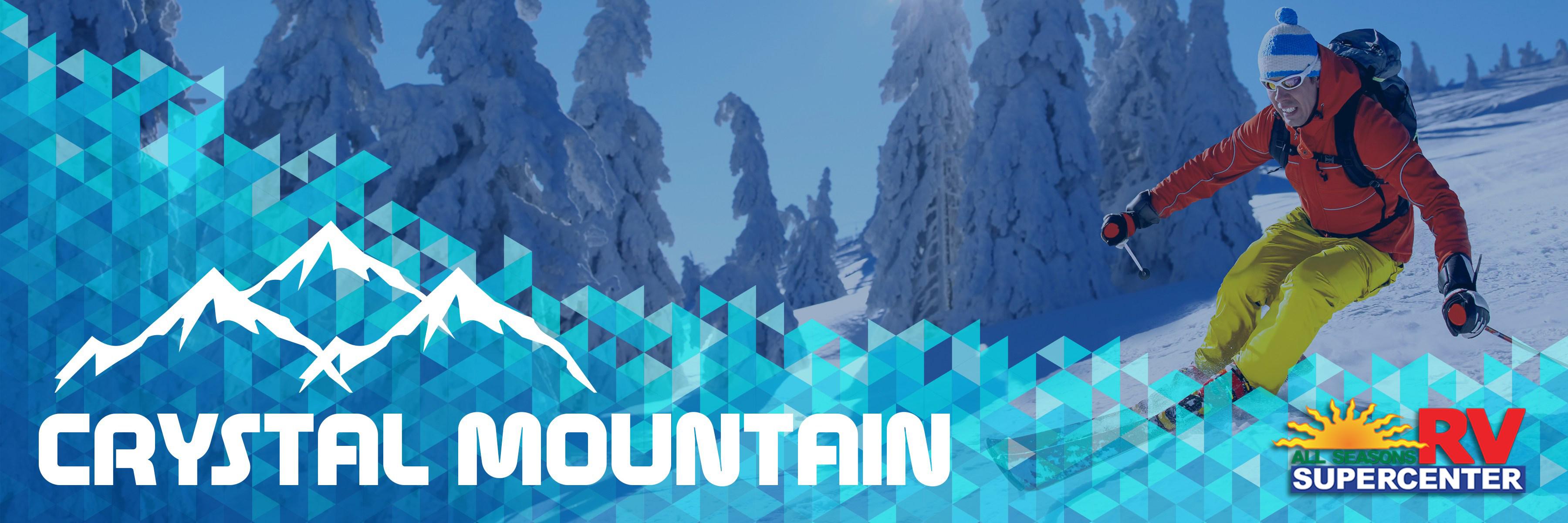 Man skiing down Crystal Mountain Banner
