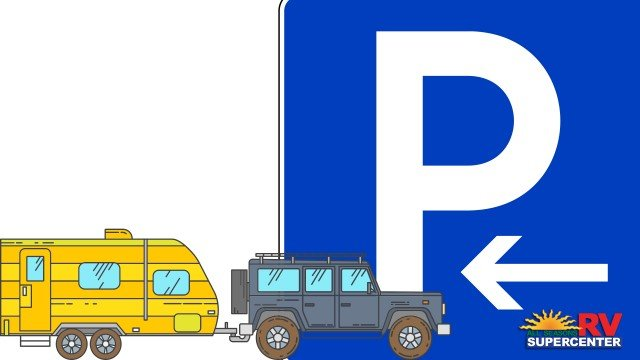 Vector Parking Sign With Jeep Backing Up RV